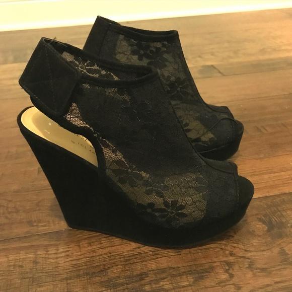 98b02c1829a Chinese Laundry Shoes - Chinese Laundry Black Lace Wedge Size 5.5 NWOT